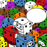 Smiling gambling dice with speech bubble Royalty Free Stock Photography