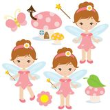 Smiling garden fairy vector cartoon illustration stock image