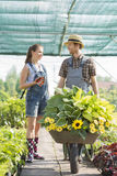 Smiling gardeners discussing while pushing plants in wheelbarrow at greenhouse Royalty Free Stock Image
