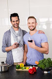 Smiling gay couple with red wine Stock Photography