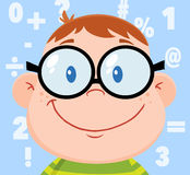 Smiling Geek Boy Head With Background And Numbers. Cartoon Character Royalty Free Stock Photos