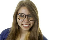 Smiling geeky girl Stock Images
