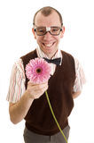 Smiling Geeky Guy with Flower Stock Photo