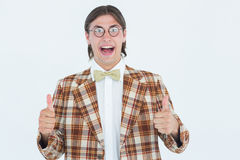 Smiling geeky hipster smiling at camera Royalty Free Stock Image
