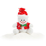 Smiling Generic Christmas Snowman Toy sitting on snow pile Stock Images