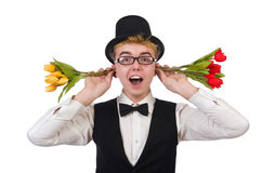 Smiling gentleman with flowers isolated on white Stock Image