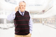 Smiling gentleman talking on a phone and posing Royalty Free Stock Images