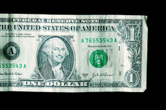 Smiling George on one dollar bill. Close up of one dollar bill, with George Washington smiling a big smile Royalty Free Stock Photos