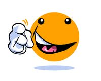 Smiling and gesturing yellow cartoon emoticon emoji. Yellow cartoon emoticon emoji smiling and pointing on white Stock Image