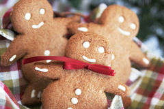 Smiling ginger bread stock images