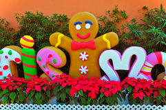 Smiling gingerbread cookie man Stock Photography