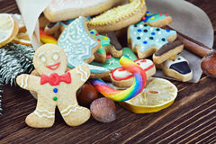 Smiling gingerbread man and Christmas Stock Photography