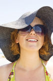 Smiling girl. On the beach Stock Photos