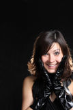 Smiling girl. Emotional woman in leather gloves Stock Photos