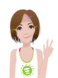 Smiling girl. Victory sign. Vector illustration Stock Photography