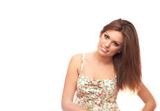 Smiling girl. Girl with a charming smile on a white background Stock Photography