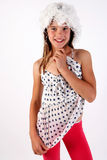 Smiling girl. The photo session in photo studio Royalty Free Stock Photography