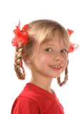 Smiling girl. A smiling girl is in a red sport shirt Royalty Free Stock Image
