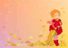 Smiling girl on abstract autumn background royalty free stock photography