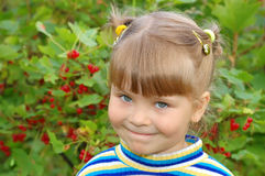 Smiling girl against a bush with a red currant Stock Images