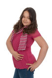 Smiling girl at the age of twelve in pink Royalty Free Stock Photo