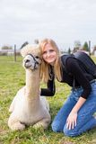 Smiling girl with alpaca animal sitting in a summer green meadow. stock photos