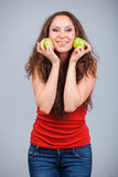 Smiling Girl and apple Royalty Free Stock Photo