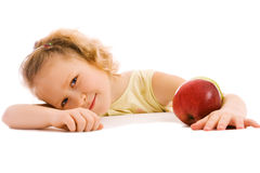 Smiling girl with apples Royalty Free Stock Image