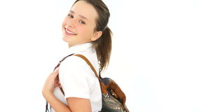 Smiling Girl with Arms Crossed Wearing Backpack stock footage