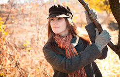 Smiling girl in autumn Stock Photography