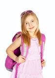 Smiling girl with backpack over white Royalty Free Stock Photo