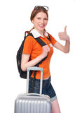 Smiling girl with backpack and suitcase Stock Photos
