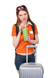 Smiling girl with backpack and suitcase Stock Photo