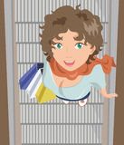 Smiling Girl with Bags. On Escalator Royalty Free Illustration