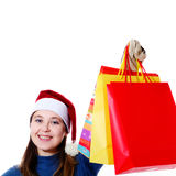Smiling girl with bags Royalty Free Stock Image