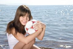 Smiling girl with a ball Royalty Free Stock Photography