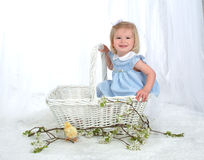 Smiling Girl in Basket with Chicken Royalty Free Stock Photography