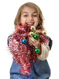 Smiling girl with beautiful Christmas decorations Stock Photo