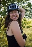Smiling girl in bicycle helmet Royalty Free Stock Photos