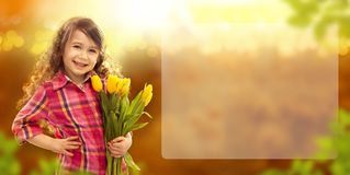 Smiling girl with big bouquet of flowers. Spring, Mothers day, family holiday, Happiness concept. Horizontal banner Royalty Free Stock Photography