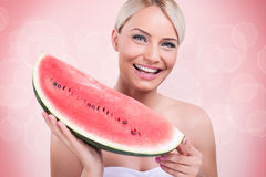 Smiling girl with big slice of watermelon Royalty Free Stock Images