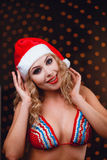 Smiling girl in a bikini, red lips Royalty Free Stock Photography