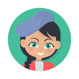 Smiling Girl with Black Braid and Forelock. Hat Royalty Free Stock Photos