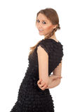 Smiling girl in black dress Stock Image