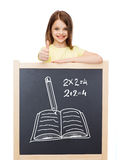 Smiling girl with blackboard showing thumbs up Royalty Free Stock Photo