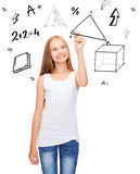 Smiling girl in blank white shirt drawing triangle. Education and new technology concept - smiling teenage girl in blank white shirt drawing triangle on virtual Royalty Free Stock Image