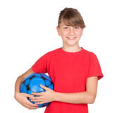 Smiling girl with blue ball Stock Image