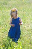 Smiling girl in blue dress and crown Royalty Free Stock Image
