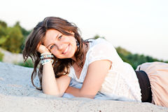 Smiling girl with blue eyes Royalty Free Stock Photos