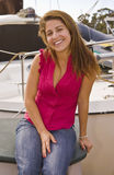 Smiling Girl with Boat Royalty Free Stock Photo